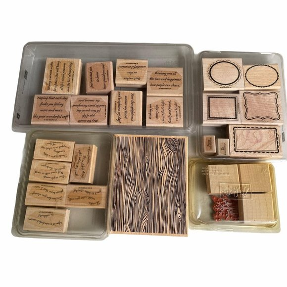 Lot of wooden stamps wording textures frames stamp